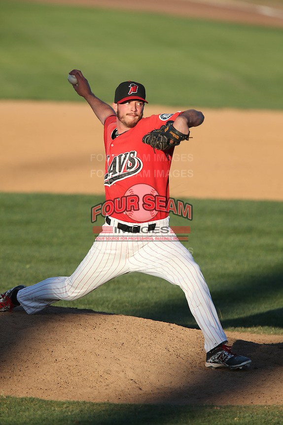 Blake Houser #31 of the High Desert Mavericks pitches against the Modesto Nuts at Heritage Field on June 29, 2014 in Adelanto, California. High Desert defeated Modesto, 6-1. (Larry Goren/Four Seam Images)