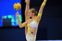 September 10, 2009; Mie, Japan;  Tjasa Seme of Slovenia balances with ball at 2009 World Championships Mie. Photo by Tom Theobald .