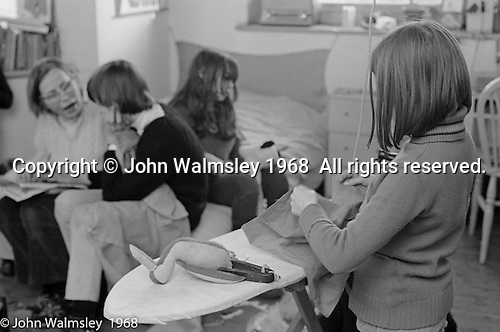 Sewing for everyone, Summerhill school, Leiston, Suffolk, UK. 1968.