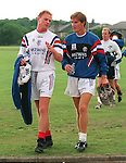 Jorg Albertz chats to Richard Gough after his first training session with Rangers at the West Of Scotland playing fields in Anniesland