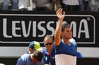 L'austriaco Dominic Thiem durante gli Internazionali d'Italia di tennis a Roma, 12 maggio 2016.<br /> Austria's Dominic Thiem waves to fans after defeating Switzerland's Roger Federer at the Italian Open tennis tournament in Rome, 12 May 2016.<br /> UPDATE IMAGES PRESS/Isabella Bonotto