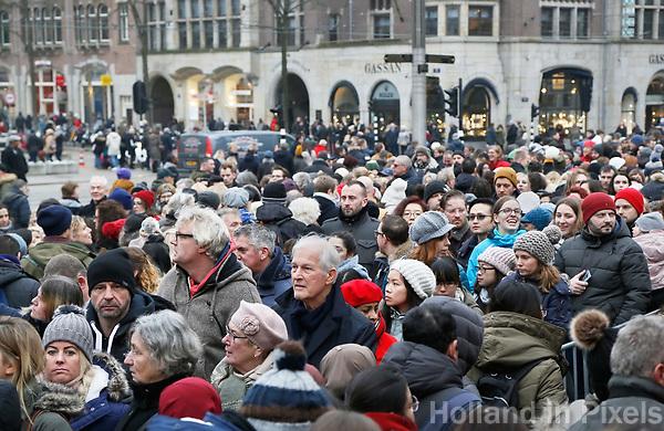 Nederland Amsterdam - 20 januari 2018.  Drukte bij een evenement op de Dam.  Foto Berlinda van Dam / Hollandse Hoogte
