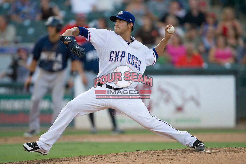 Round Rock Express pitcher Martin Perez #45 delivers during a game against the New Orleans Zephyrs at the Dell Diamond on July 21, 2011 in Round Rock, Texas.  New Orleans defeated Round Rock 7-4.  (Andrew Woolley/Four Seam Images)
