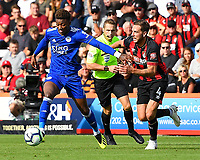 Demarai Gray of Leicester City left holds off Dan Gosling of AFC Bournemouth during AFC Bournemouth vs Leicester City, Premier League Football at the Vitality Stadium on 15th September 2018