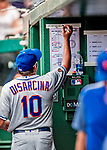 1 August 2018: New York Mets bench coach Gary Disarcina makes notes above the lineup card in the dugout during a game against the Washington Nationals at Nationals Park in Washington, DC. The Nationals defeated the Mets 5-3 to sweep the 2-game weekday series. Mandatory Credit: Ed Wolfstein Photo *** RAW (NEF) Image File Available ***