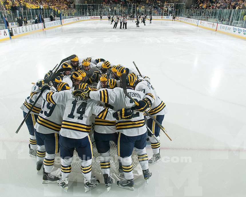 The No. 3 University of Michigan ice hockey team lost, 3-2, to No. 4 Western Michigan University at Yost Ice Arena in Ann Arbor, Mich., on November 4, 2011.