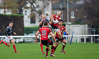 Mark Bright (Captain) of London Scottish & Tom Howe of Jersey go up for the ball during the Greene King IPA Championship match between London Scottish Football Club and Jersey at Richmond Athletic Ground, Richmond, United Kingdom on 7 November 2015. Photo by Andy Rowland.