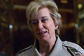 Linda McMahon speaks with the press following her meeting with United States President-elect Donald Trump at Trump Tower in New York, New York, USA on November 30, 2016. <br /> Credit: Albin Lohr-Jones / Pool via CNP