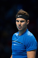 Rafael Nadal of Spain (1) in action against David Goffin of Belgium (7) during their Pete Sampras group match - Goffin def Nadal 7-6, 6-7, 6-4<br /> <br /> Photographer Craig Mercer/CameraSport<br /> <br /> International Tennis - Nitto ATP World Tour Finals - O2 Arena - London - Day 2  - Monday 13th November 2017<br /> <br /> World Copyright &copy; 2017 CameraSport. All rights reserved. 43 Linden Ave. Countesthorpe. Leicester. England. LE8 5PG - Tel: +44 (0) 116 277 4147 - admin@camerasport.com - www.camerasport.com