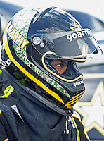 Apr. 1, 2012; Las Vegas, NV, USA: NHRA top fuel dragster driver Tony Schumacher during the Summitracing.com Nationals at The Strip in Las Vegas. Mandatory Credit: Mark J. Rebilas-