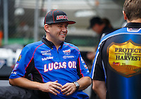 Aug 19, 2016; Brainerd, MN, USA; NHRA top fuel driver Richie Crampton during qualifying for the Lucas Oil Nationals at Brainerd International Raceway. Mandatory Credit: Mark J. Rebilas-USA TODAY Sports