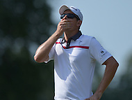 Bethesda, MD - June 29, 2014: Justin Rose reacts to missing a putt on the 16th hole during the Final Round of the Quicken Loans National at the Congressional Country Club in Bethesda, MD, June 29, 2014  (Photo by Don Baxter/Media Images International)