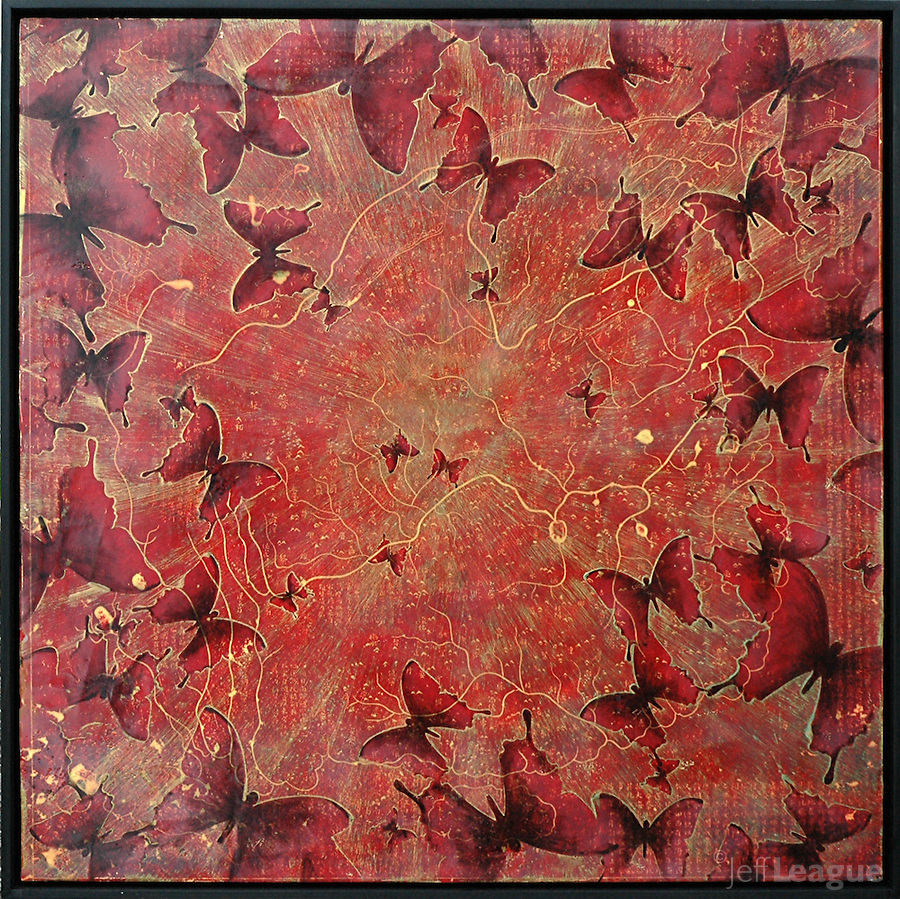 Butterflies encaustic photo painting in iridescent gold over red antique map of China.