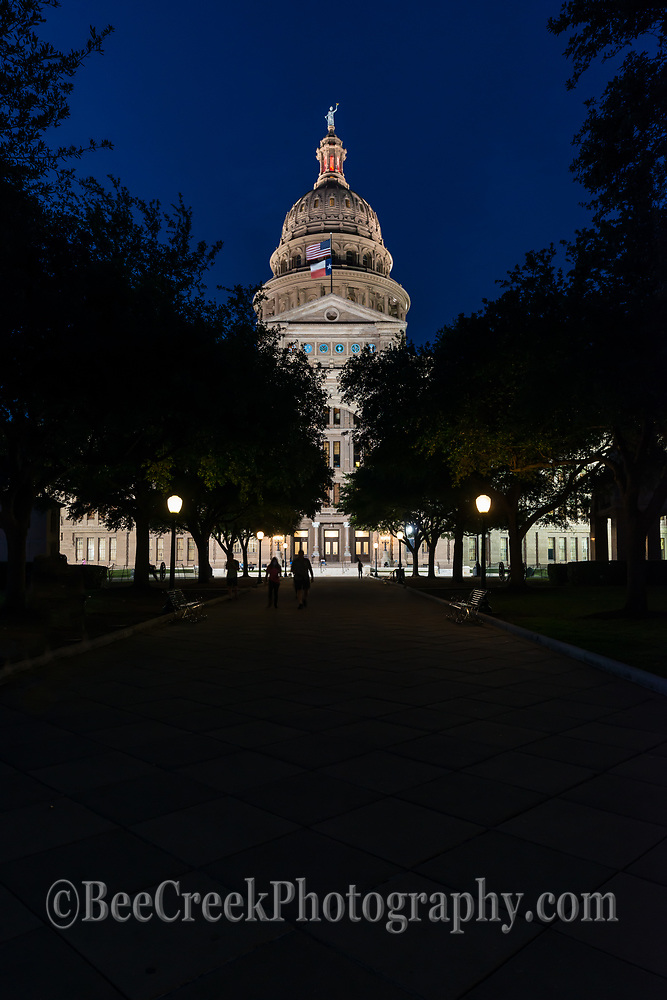 The Texas State Capitol at night in a verticle format in downtown Austin.