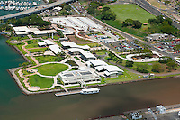 Aerial view ofthe Arizona Memorial at Pearl Harbor