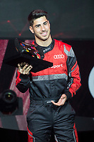 Marco Asensio of Real Madrid CF races in his simulated Formula-e car during a race with his teammates during the Audi Handover Sponsorship deal with Real Madrid at the Ciudad Deportivo training grounds in Madrid, Spain. November 23, 2017. (ALTERPHOTOS/Borja B.Hojas) /NortePhoto.com NORTEPHOTOMEXICO