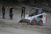 Pictured: A mini digger spreads soil so that specialist search officers go through it by the farmhouse where Ben Needham disappeared from in Kos, Greece. Monday 10 October 2016<br />