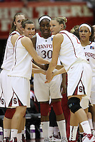 SAN ANTONIO, TX - APRIL 4:  Jeanette Pohlen, Kayla Pedersen, Nnemkadi Ogwumike, Jayne Appel, and Rosalyn Gold-Onwude of the Stanford Cardinal during Stanford's 73-66 win over Oklahoma in the Final Four semi-finals at the Alamo Dome on April 4, 2010 in San Antonio, Texas.