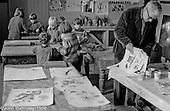 Harry Herring, art teacher, Art room, Summerhill school, Leiston, Suffolk, UK. 1968.
