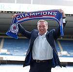 Ally McCoist at Ibrox Stadium celebrating his first success as manager of Rangers FC