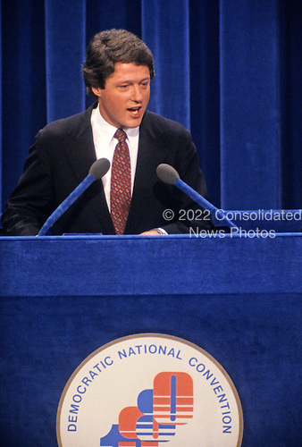 Governor Bill Clinton (Democrat of Arkansas) makes remarks at the 1980 Democratic National Convention in Madison Square Garden in New York, New York on August 13, 1980.<br /> Credit: Arnie Sachs / CNP