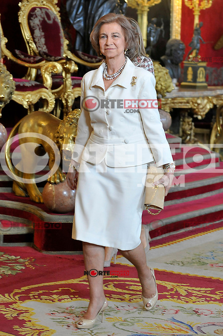Queen Sofia of Spain attends the Royal Palace reception on the National Military Parade.October 12,2012.(ALTERPHOTOS/Pool) /NortePhotoAgency
