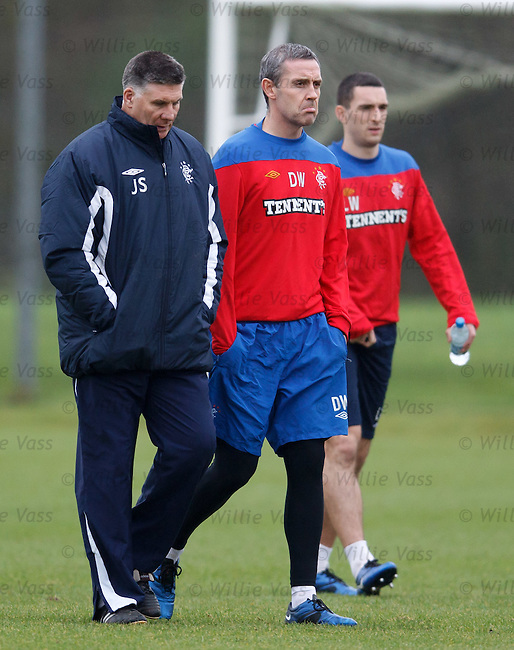 Jim Stewart walks out with a grumpy Davie Weir