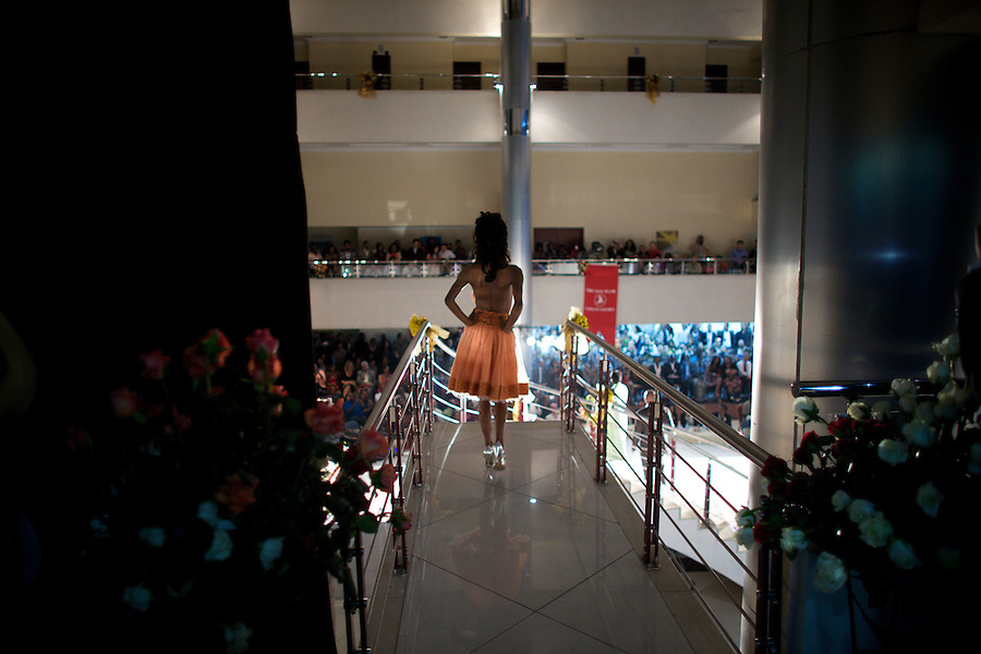 A contender for the crown walks towards the  stairway that will take to the main catwalk during the 2009 MIss Ethiopia beauty pageant held at the Intercontinental Hotel in Ethiopia's Capital Addis Ababa on Sunday January 18 2009.