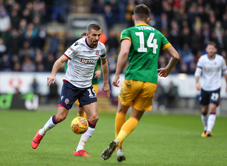 Bolton Wanderers' Gary O'Neil competing with Preston North End's Jordan Storey  <br /> <br /> Photographer Andrew Kearns/CameraSport<br /> <br /> The EFL Sky Bet Championship - Bolton Wanderers v Preston North End - Saturday 9th February 2019 - University of Bolton Stadium - Bolton<br /> <br /> World Copyright &copy; 2019 CameraSport. All rights reserved. 43 Linden Ave. Countesthorpe. Leicester. England. LE8 5PG - Tel: +44 (0) 116 277 4147 - admin@camerasport.com - www.camerasport.com