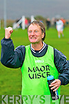 A delighted Dromid manager Michael A. O'Connell pumps the air as his side takes victory over Kanturk in the Munster Junior Semi-Final in Waterville on Sunday.