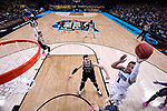 SAN ANTONIO, TX - APRIL 02: Jalen Brunson #1 of the Villanova Wildcats shoots the ball against Moritz Wagner #13 of the Michigan Wolverines during the second half in the 2018 NCAA Men's Final Four National Championship game at the Alamodome on April 2, 2018 in San Antonio, Texas.  (Photo by Jamie Schwaberow/NCAA Photos via Getty Images)