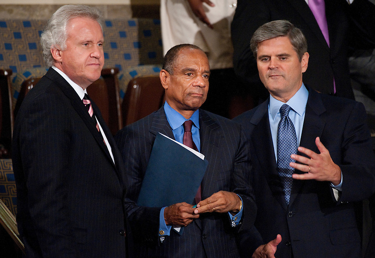 UNITED STATES - SEPTEMBER 8: From left, Jeffrey R. Immelt, GE Chairman and Chief Executive Officer, Ken Chenault, CEO and Chairman of American Express, and Steve Case, co-founder and former chief executive officer and chairman of America Online, talk before President Barack Obama's speech on jobs to a joint session of Congress on Thursday, Sept. 8, 2011. (Photo By Bill Clark/Roll Call)