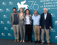 """VENICE, ITALY - SEPTEMBER 07: Claes Bang, Elizabeth Debicki, Mick Jagger, Giuseppe Capotondi and Donald Sutherland at """"The Burnt Orange Heresy"""" photocall during the 76th Venice Film Festival at Sala Grande on September 07, 2019 in Venice, Italy. <br /> CAP/GOL<br /> ©GOL/Capital Pictures"""