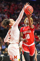 College Park, MD - March 23, 2019: Maryland Terrapins guard Blair Watson (22) blocks Radford Highlanders guard Destinee Walker (10) shot during game between Radford and Maryland at  Xfinity Center in College Park, MD.  (Photo by Elliott Brown/Media Images International)