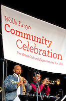 Jazz Great Branford Marsalis (left) performs on stage during the Wells Fargo Community Celebration, held October 29, 2011 in downtown Charlotte NC. The daylong festival took place in the streets, in public atriums and in downtown museums, which offered free admission all day long. Wells Fargo, which this month completed its conversion from Wachovia, picked up the bill.
