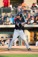 Andy Yerzy (38) of the Missoula Osprey at bat against the Billings Mustangs at Dehler Park on August 21, 2017 in Billings, Montana.  The Osprey defeated the Mustangs 10-4.  (Brian Westerholt/Four Seam Images)
