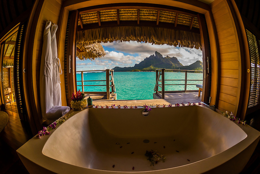 Interior of an overwater bungalow, Motu Tehotu, Four Seasons Resort Bora Bora, Society Islands, French Polynesia.