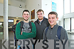 Students from IT, Tralee, North Campus, who were discussing the online drinking game called Neknomination, on Tuesday last were l-r: Joe Burgoyne (West Cork) Mark Purcell (Limerick) and Alex Nowotynski (West Cork)