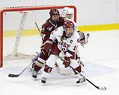 Cori Bassett (Harvard - 18), Danielle Welch (BC - 17), Laura Bellamy (Harvard - 1) - The Harvard University Crimson defeated the Boston College Eagles 5-0 in their Beanpot semi-final game on Tuesday, February 2, 2010 at the Bright Hockey Center in Cambridge, Massachusetts.