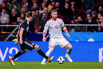 Sergio Ramos of Spain (R) in action against Lucas Biglia of Argentina (L) during the International Friendly 2018 match between Spain and Argentina at Wanda Metropolitano Stadium on 27 March 2018 in Madrid, Spain. Photo by Diego Souto / Power Sport Images