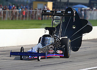 Aug 31, 2014; Clermont, IN, USA; NHRA top fuel dragster driver Pat Dakin during qualifying for the US Nationals at Lucas Oil Raceway. Mandatory Credit: Mark J. Rebilas-USA TODAY Sports