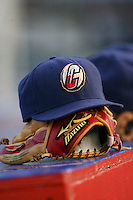 June 28th 2008:  Hat and glove for the Williamsport Crosscutters, Class-A affiliate of the Philadelphia Phillies, during a game at Bowman Field in Williamsport, PA.  Photo by:  Mike Janes/Four Seam Images