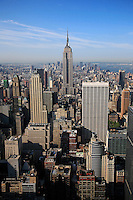 View of the EMPIRE STATE BUILDING and MIDTOWN MANHATTAN -TOP OF THE ROCK - ROCKEFELLER CENTER - NEW YORK CITY