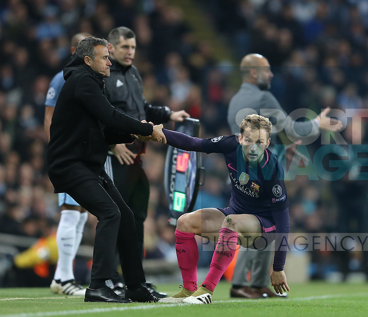 Luis Enrique manager of Barcelona helps up \bduring the Champions League Group C match at the Etihad Stadium, Manchester. Picture date: November 1st, 2016. Pic Simon Bellis/Sportimage