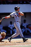 Richmond Braves infielder Chipper Jones during a game versus the Pawtucket Red Sox at McCoy Stadium in Pawtucket, Rhode Island during the 1993 season.  (Ken Babbitt/Four Seam Images)