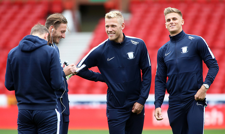 The Preston North End players are all smiles before kick off<br /> <br /> Photographer David Shipman/CameraSport<br /> <br /> The EFL Sky Bet Championship - Nottingham Forest v Preston North End - Saturday 31st August 2019 - The City Ground - Nottingham<br /> <br /> World Copyright © 2019 CameraSport. All rights reserved. 43 Linden Ave. Countesthorpe. Leicester. England. LE8 5PG - Tel: +44 (0) 116 277 4147 - admin@camerasport.com - www.camerasport.com