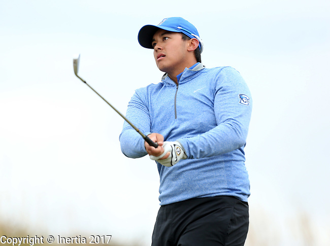 VALENTINE, NE - OCTOBER 2: Bradley Keyer from Creighton University watches his tee shot on the second hole during the SDSU Invite Monday at The Prairie Club in Valentine, NE. (Photo by Dave Eggen/Inertia)