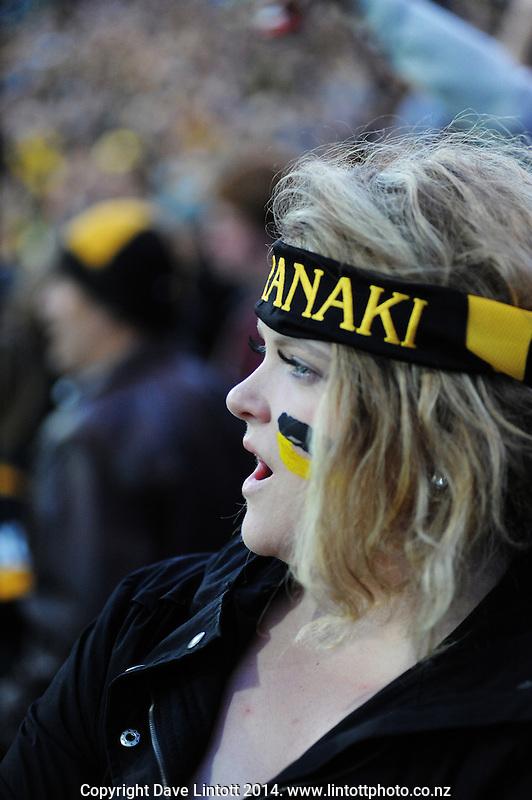 A Taranaki fan watches the ITM Cup rugby premiership final between Taranaki and Tasman Makos at Yarrow Stadium, New Plymouth, New Zealand on Saturday, 25 October 2014. Photo: Dave Lintott / lintottphoto.co.nz