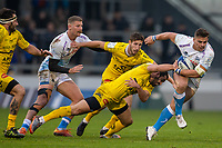 24th November 2019; AJ Bell Stadium, Salford, Lancashire, England; European Champions Cup Rugby, Sale Sharks versus La Rochelle; Rohan Janse van Rensburg of Sale Sharks is tackled by Geoffrey Doumayrou of La Rochelle - Editorial Use