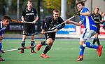 UTRECHT - Ashley Jackson (HGC) met Lars Balk (Kampong)  en Robbert Kemperman (Kampong)   tijdens de hoofdklasse  hockeywedstrijd heren, Kampong-HGC (3-3) . COPYRIGHT KOEN SUYK